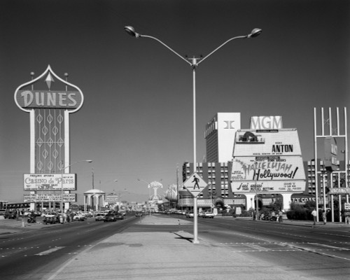 1980s Daytime The Strip With Signs For The Dunes Mgm Flamingo Las Vegas Nevada Usa Print By Vintage Collection - Item # PPI178917LARGE