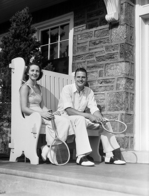 1930s Man And Woman Sitting On Porch Holding Tennis Rackets Smiling Summer Outdoor Print By Vintage Collection - Item # VARPPI179589