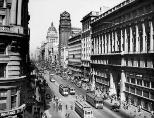 1920s Market Street From Powell Looking Toward The Ferry Building Track For Cable Cars San Francisco California Usa - Item # VARPPI195803