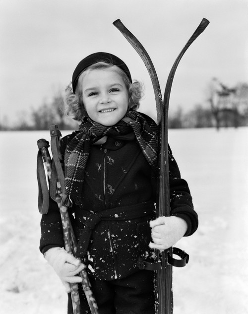 1930s Little Girl Standing Holding Skis And Poles Smiling Looking At Camera Poster Print By Vintage Collection (22 X 28) - Item # PPI172478LARGE