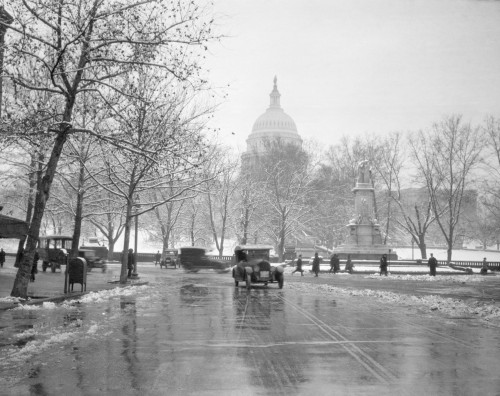 1920s-1930s The Capitol Building And Old Car Traffic In Winter Washington Dc Usa Print By Vintage Collection - Item # PPI178455LARGE
