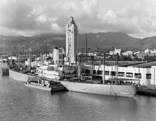1930s Ship Freighter At Dock By Aloha Tower Built 1926 Port Of Honolulu Hawaii Print By Vintage Collection - Item # VARPPI177633