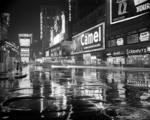 1950s Wet Rainy Streets Of Times Square At Night Neon Signs Advertising New York City Ny Usa Print By Vintage Collection - Item # PPI178982LARGE