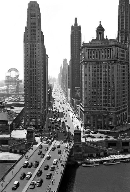 1940s Downtown Skyline Michigan Avenue Chicago Illinois Usa Poster Print By Vintage Collection (24 X 36) - Item # PPI195724LARGE