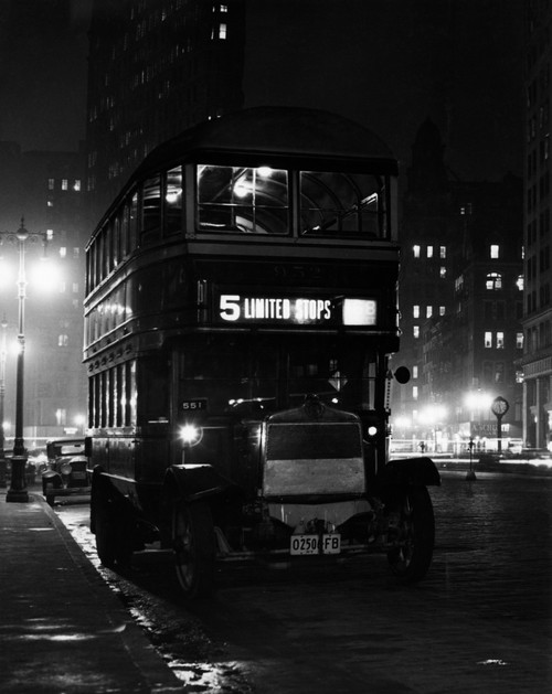 1930s Double Decker 5Th Avenue Bus At Night Near Flatiron Building New York City Usa Print By Vintage Collection - Item # PPI178537LARGE