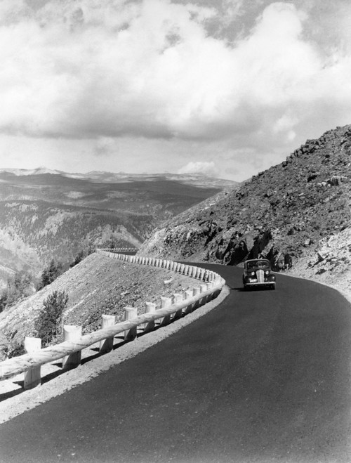 1940s Automobile On Hillside Road Near Yellowstone National Park 11000 Feet Elevation Red Lodge Cooke City Montana Usa - Item # PPI194380LARGE