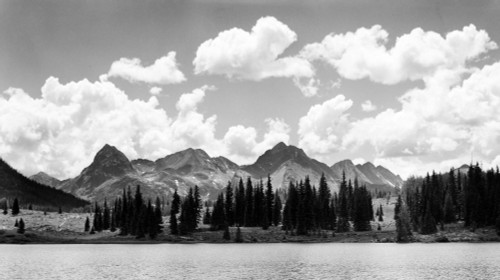 1930s Western North America Mountain Range Skyline And Lake In Foreground Poster Print By Vintage Collection (24 X 40) - Item # PPI194303LARGE