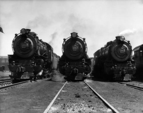 1930s Head-On Shot Of Three Steam Engine Train Locomotives On Tracks Poster Print By Vintage Collection (22 X 28) - Item # PPI179046LARGE
