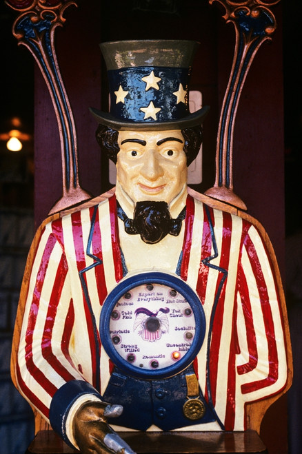 1890s-1900s-1910s Folk Art Uncle Sam Amusement Arcade Personality Game Machine Print By Vintage Collection - Item # PPI176128LARGE