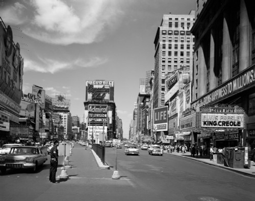 1950s Looking North Up Broadway From Times Square To Duffy Square King Creole On Movie Marquee Manhattan New York City - Item # PPI178835LARGE