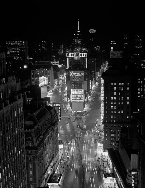 1950s-1960s Night Aerial View Times Square From Times Building Looking North Manhattan Print By Vintage Collection - Item # PPI178784LARGE