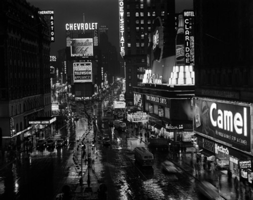 1950s Times Square Night From Times Building Up To Duffy Square Neon Signs Broadway Great White Way Print By Vintage - Item # VARPPI178951