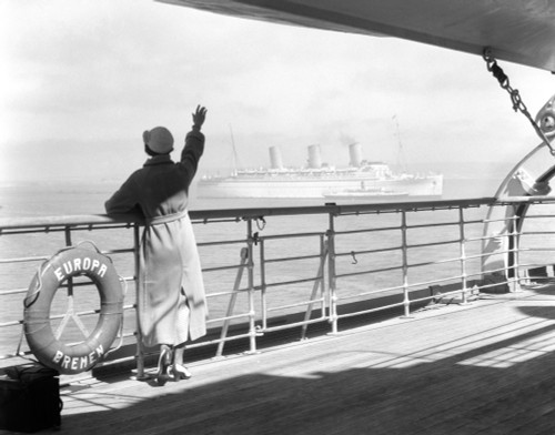 1930s Back Of Woman At Rail Of Cruise Ship Ss Europa Poster Print By Vintage Collection (22 X 28) - Item # PPI172462LARGE
