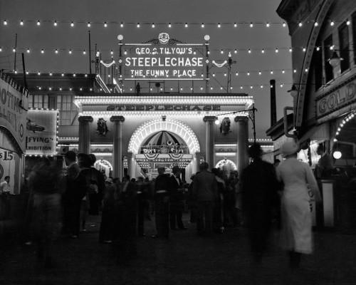 1930s-1940s Night Lights Amusement Park Brooklyn Ny Entrance Steeplechase Park Funny Place Coney Island New York Usa - Item # VARPPI195795