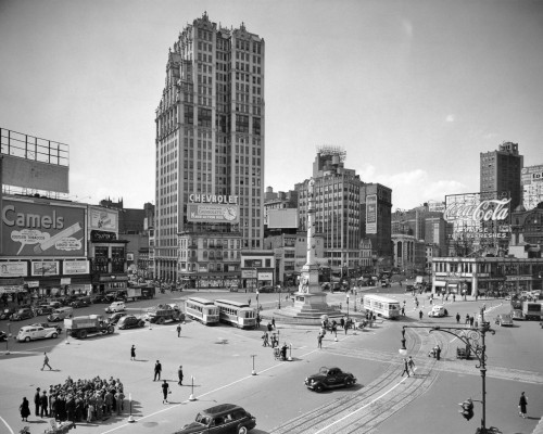 1930s Columbus Circle With Coca Cola Sign And Trolley Cars New York City Usa Print By Vintage Collection - Item # VARPPI195665