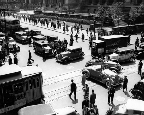 1930s Busy Intersection Fifth Avenue And 42Nd Street With Traffic Jam & Many Pedestrians New York City Usa Print By - Item # VARPPI194502