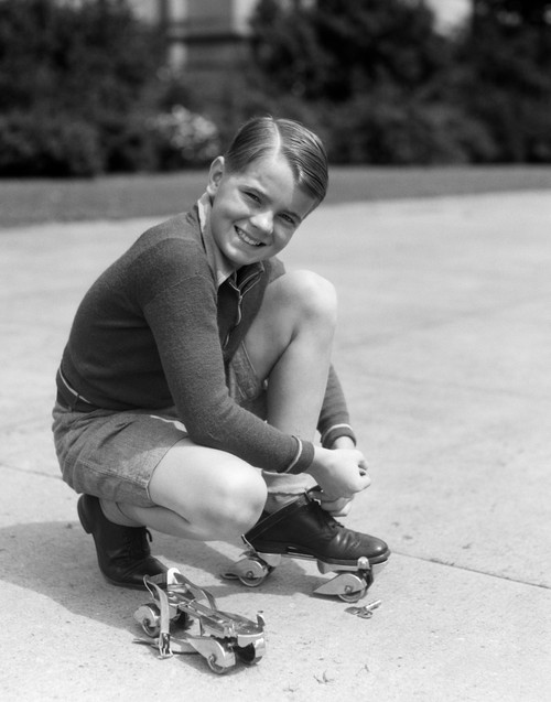 1930s Smiling Boy Fastening On Streamline Metal Roller Skates Poster Print By Vintage Collection (22 X 28) - Item # PPI177091LARGE