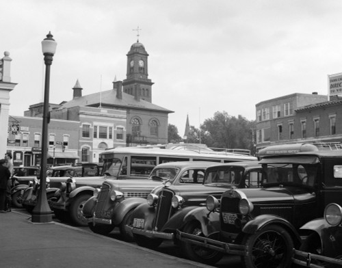 1930s Buses Cars Parked Small Town Square Claremont New Hampshire Usa Poster Print By Vintage Collection (22 X 28) - Item # PPI195690LARGE