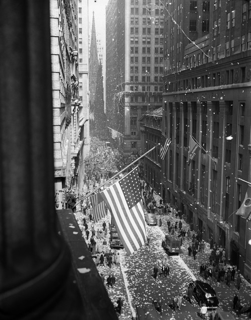 1940s-1945 Aerial View Of Ve Day Celebration On Wall Street Nyc With Flags And Confetti Flying Print By Vintage - Item # PPI172432LARGE