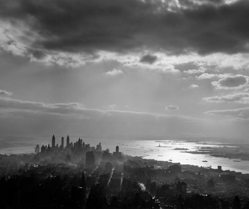 1950s Late Afternoon Light Throws Downtown Manhattan Into Silhouette Sun Reflecting On Bay & Hudson River Print By - Item # PPI178669LARGE