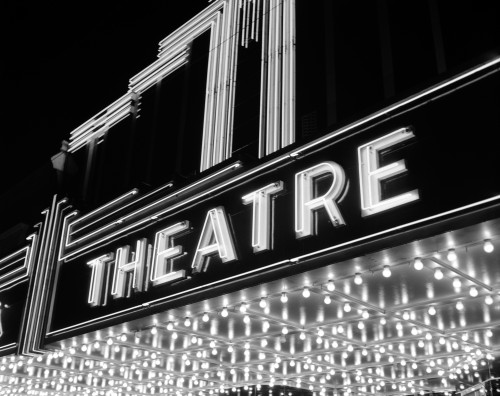 1930s-1940s Theater Marquee Theatre In Neon Lights Poster Print By Vintage Collection (22 X 28) - Item # PPI180234LARGE