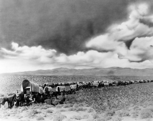 1870s-1880s Montage Of Covered Wagons Crossing The American Plains Poster Print By Vintage Collection (22 X 28) - Item # PPI195692LARGE