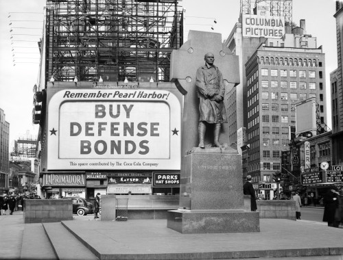 1940s Buy Defense Bonds Billboard At Statue Of Father Duffy Of The Fighting 69Th Of World War I At Times Square New York - Item # PPI195740LARGE