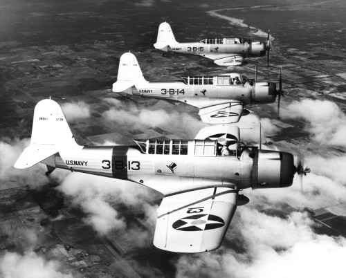 1940s Three World War Ii Us Navy Dive Bombers Flying In Formation Poster Print By Vintage Collection - Item # VARPPI176478