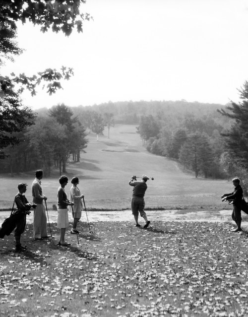 1920s-1930s Group Of Golfers Teeing Off 2 Men 2 Women And 2 Caddies At The Country Club Pittsfield Berkshires Ma Print - Item # PPI187362LARGE