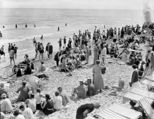 1920s Crowd Of People Some Fully Clothed Others In Bathing Suits On Palm Beach In Florida Usa Print By Vintage - Item # VARPPI177328