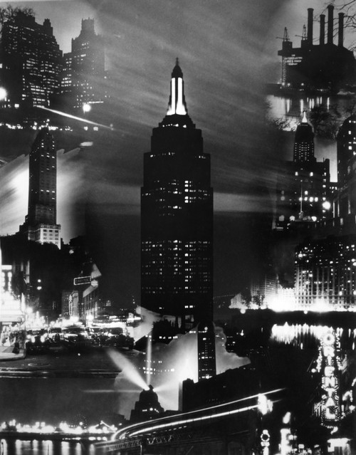 1930s Montage Of New York City Buildings At Night With Empire State Building In Center Print By Vintage Collection - Item # PPI186516LARGE