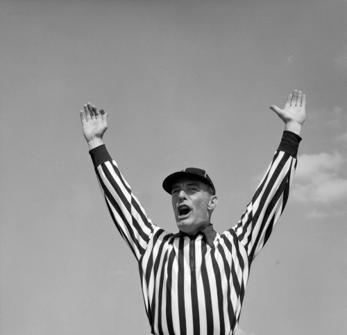 1950s Football Referee Making Touchdown Signal Poster Print By Vintage Collection (24 X 24) - Item # PPI177330LARGE