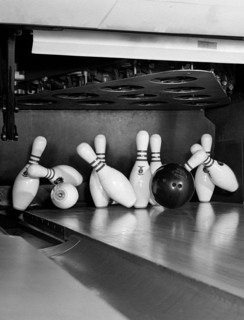 1960s Close-Up Of Bowling Ball Hitting Pins Poster Print By Vintage Collection (22 X 28) - Item # PPI179166LARGE