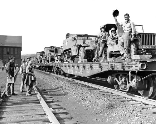 1940s World War Ii Freight Train Of Jeeps And Half Tracks On Way To The Front Factory Workers Bid Farewell To Soldiers - Item # PPI195755LARGE