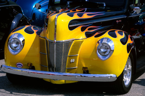 1939 1940 Ford Flame Job Painted Hot Rod Automobile Hood Headlights Grill Front Bumper Print By Vintage Collection - Item # PPI177466LARGE
