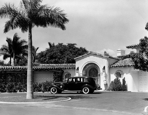 1930s Car In Circular Driveway Of Tropical Stucco Spanish Style Home In Sunset Islands Miami Beach Florida Usa Print By - Item # PPI177127LARGE