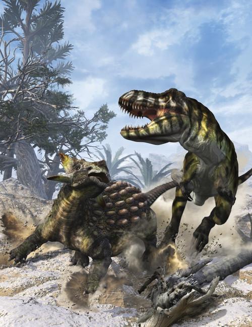 Ankylosaurus hits Tyrannosaurus rex with it's clubbed tail in self-defense Poster Print - Item # VARPSTKRT600002P