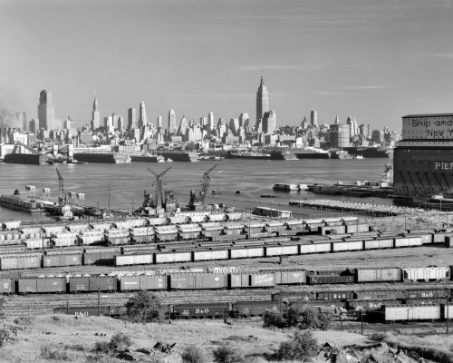 1950s-1960s Skyline Midtown Manhattan From Across The Hudson River Railroad Tracks Foreground In West New York Nj Usa - Item # PPI179027LARGE