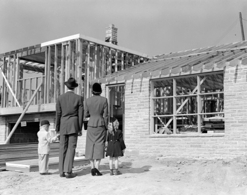 1950s Family Looking At New Home Under Construction Poster Print By Vintage Collection (22 X 28) - Item # PPI177024LARGE