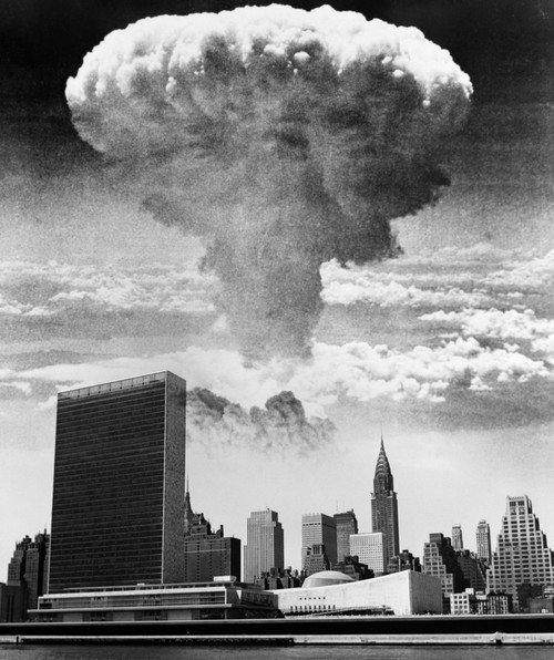1950s-1960s Mushroom Cloud Over United Nations Building New York City Waterfront Skyline Print By Vintage Collection - Item # VARPPI176479