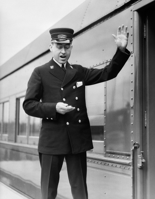 1930s Conductor Making Final Boarding Call Outside Train Poster Print By Vintage Collection - Item # VARPPI179036