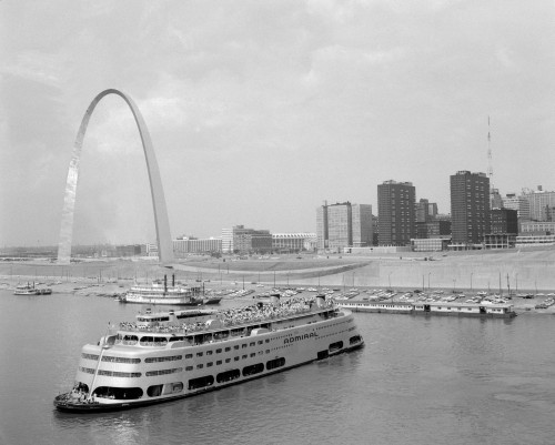 1960s St. Louis Missouri Gateway Arch Skyline Mississippi River Ss Admiral Casino And Other Riverboats Print By Vintage - Item # VARPPI172441