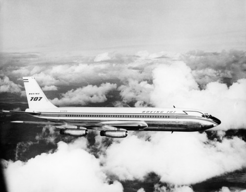 1950s Boeing 707 Passenger Jet Flying Through Clouds Poster Print By Vintage Collection (22 X 28) - Item # PPI176614LARGE