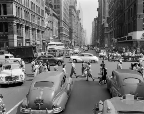 1940s-1950s Street Scene Crowds Traffic Intersection Fifth Avenue & 14 Street Manhattan Ny New York City Print By - Item # VARPPI179647