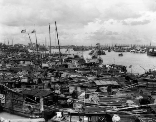 1920s-1930s Busy Harbor On Pearl River Crowded With Many Sampans Boats Canton China Print By Vintage Collection - Item # PPI195644LARGE