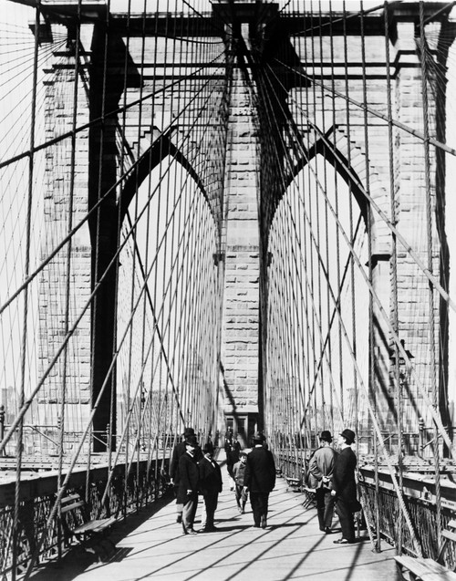 1800s-1880s Men Standing On Brooklyn Bridge Just After It Opened 1883 New York City Usa Print By Vintage Collection - Item # VARPPI178416