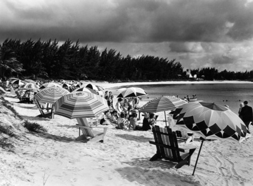 1940s Beach Umbrellas Chairs On Sand Paradise Beach Nassau West Indies Poster Print By Vintage Collection - Item # VARPPI178649
