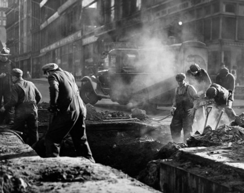 1930s Construction Street Workers Digging Ditch Boston Ma Usa Poster Print By Vintage Collection (22 X 28) - Item # PPI195751LARGE
