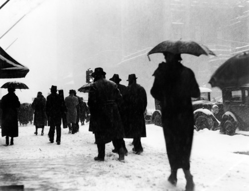 1920s-1930s Crowd Of Pedestrians Silhouetted By Snow Storm Walking On City Street Sidewalk Print By Vintage Collection - Item # PPI179483LARGE