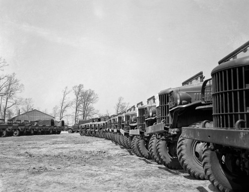 1940s April 19 1941 Alignment Row Rows Dodge Army Trucks Jeeps Fort Dix Nj Poster Print By Vintage Collection (22 X 28) - Item # PPI195729LARGE